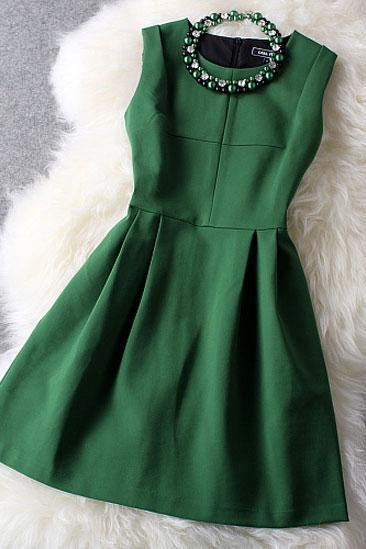 Sexy New Unique Fresh Green With Beading Party Dress