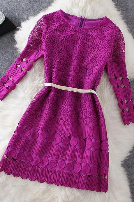 Soluble flowers purple dress AW915F