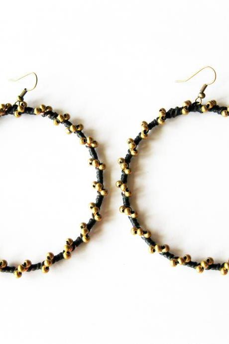 Big Hoop Crochet Dangle Earrings with Brass, Silver Beaded and Wax Cord, Jewelry Thailand Handmade. (JE1019-GO)