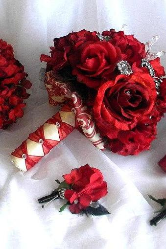 8 Piece Glamorous Damask Bouquet Set with Rhinestones and Real Touch Roses in Red, Ivory and Black- Made to Order