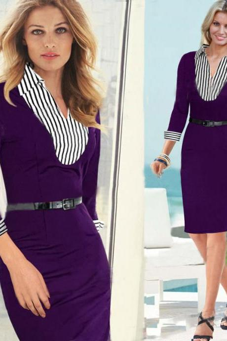 Cheap Fashion V Neck Three Quarter Sleeves Stripes Print Purple Faux Two-piece Sheath Knee Length Dress