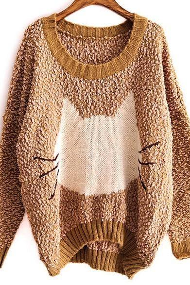 Fleece Round Neck Long Sleeve Cat Design Cardigan Pullover