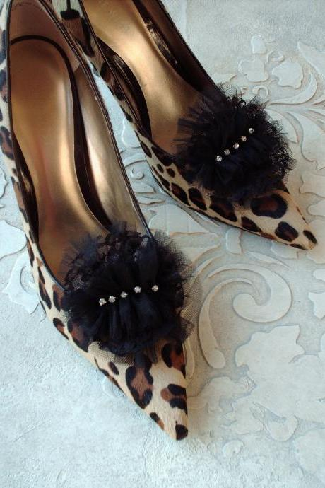 Glam Petit Tutu Inspired Black Lace And Tulle Shoe Clips