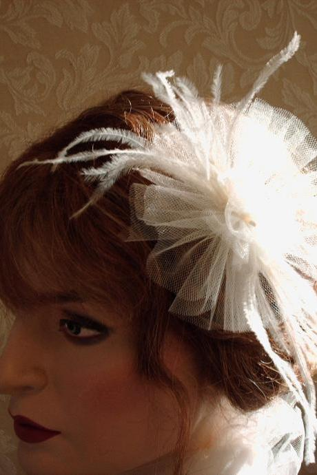 Coco Petite Fascinator - Hair Clip, Hair Accessory, Bride, Bridesmaids, Dance Headpiece, Tulle And Ostrich Feathers In Ivory