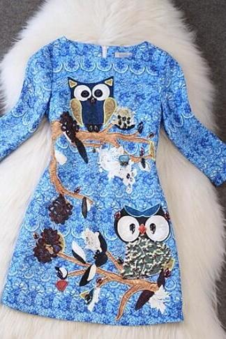 The owl print dress