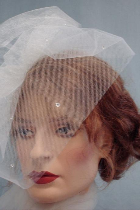 Tulle Birdcage Veil / Weddings, Bridal Double Layer Veil, Ivory Blusher 2 Tier Veil