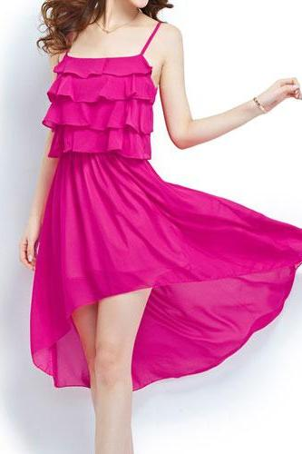 Asym Hem Red Low-cut Tiered Stretchy High-waisted Slip Dress [grxjy561628]