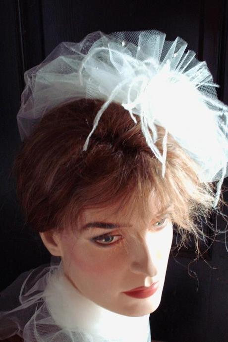 Coco Bridal Veil Fascinator Double Layered Ivory Illusion Teardrop Tulle With Ostrich Feathers