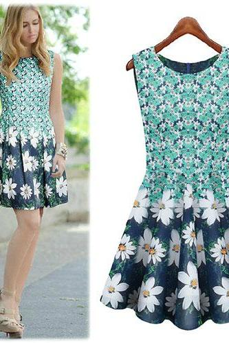 Sweet Floral Print Crew Neck Pleated Bodycon Tank Dress