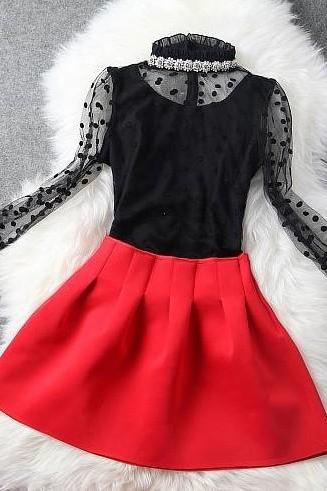 Nail bead coat + red skirt two-piece outfit