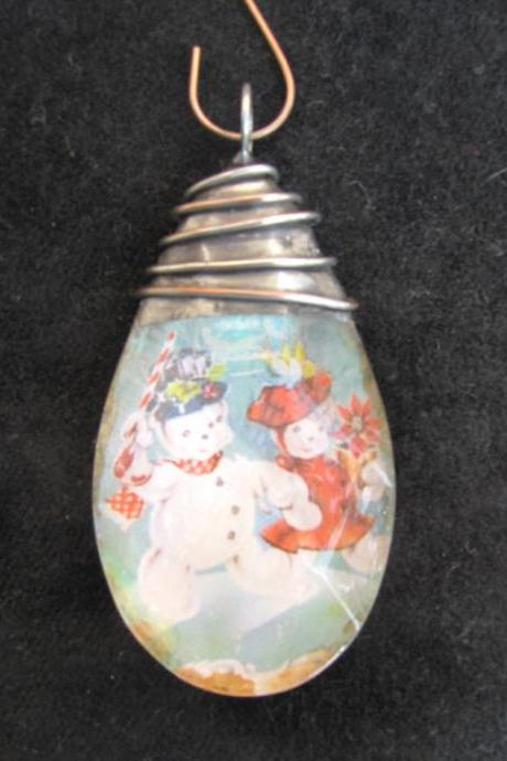 Snowmen Crystal Pendant or Ornament