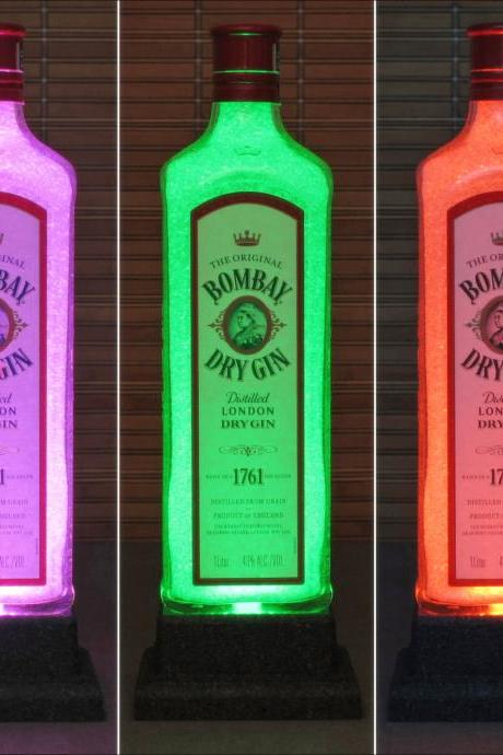 Bombay London Gin Color Changing LED Remote Controlled Bottle Lamp Light Eco Friendly RGB LED England