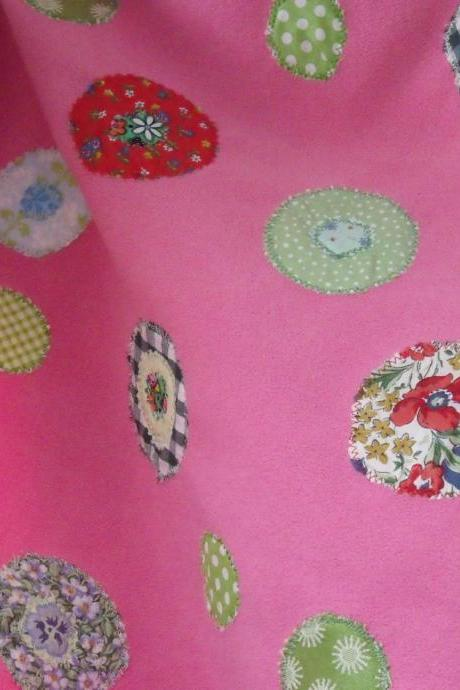 Baby blanket pink with red yellow blue cream circles