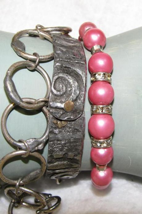Triple Wrap Pink Beaded Bracelet