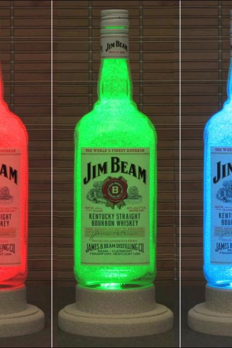 Jim Beam Whiskey Color Changing LED Remote Controlled Eco Friendly rgb LED Bottle Lamp/Bar Light / Intense Sparkle-Bodacious Bottles-
