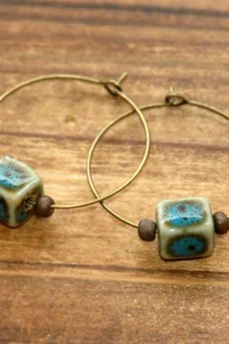 Teal Blue Cube Ceramic Bronze Beads Hoop Earrings