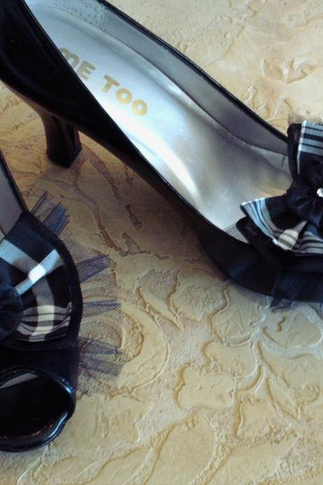 Black And White Plaid Silk Organza And Tulle Double Bow Shoe Clips