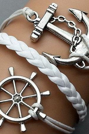 Anchor & Helmsman Bracelet Charm Bracelet Silver Bracelet White Korean Wax Cords White Leather Charm Bracelet Personalized Bracelet