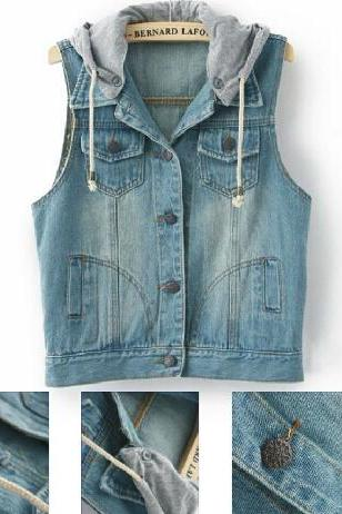 Sleeveless denim vest hooded jacket #091603AD