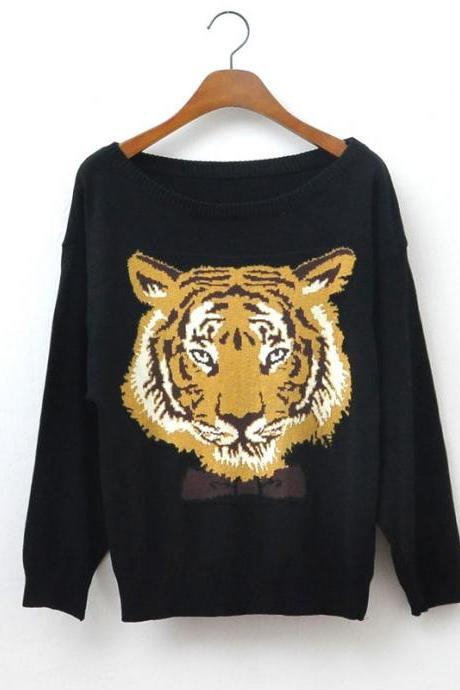 Black Tiger Head Sleeve Sweater
