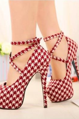 Red Houndstooth Platform Stiletto Pumps with Criss Cross Ankle Straps