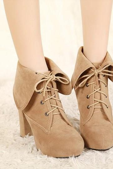 Elegant Apricot Chunky Heel Ankle Boots