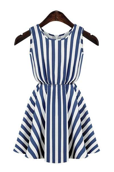 Striped Sleeveless Short Skater Dress Featuring Crew Neckline