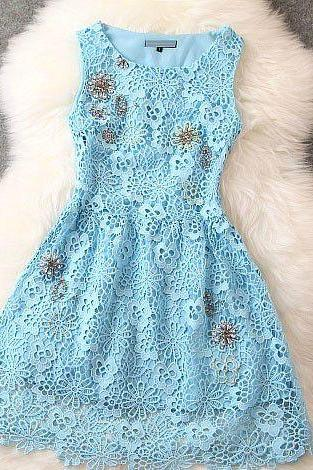 Sexy Gorgeous Light Blue Floral Lace Dress