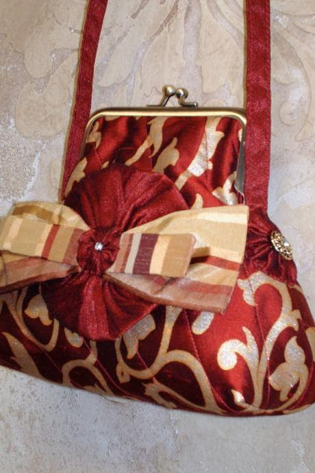 Silk Purse In Dark Red and Gold Painted Silk / with Rosette Bow Brooch For Wedding Or Special Occasion
