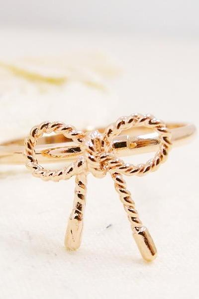 Tying The Knot Ring, Ribbon Ring In Rose Gold, Adjustable Ring, Free Size Ring