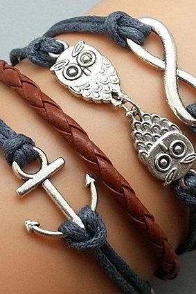 Infinity Bracelet Owls Bracelet Anchor Bracelet Charm Bracelet Silver Bracelet Black Korean Wax Cords Black Leather Charm Bracelet Personalized Bracelet