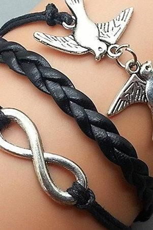 Infinity & Love Bird Bracelet Charm Bracelet Silver Bracelet Black Wax Cords Black Leather Charm Bracelet Personalized Bracelet