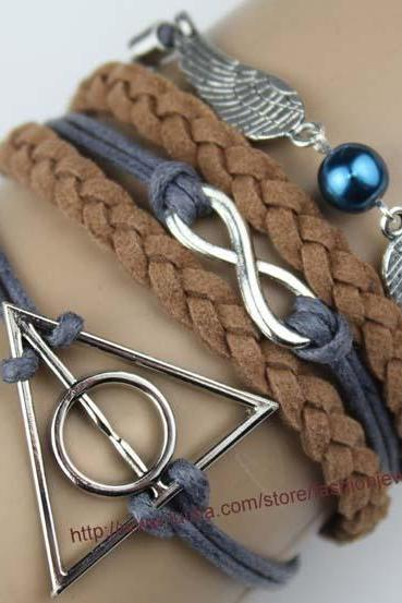 Harry Potter Deathly Hallow Bracelet, Infinity Bracelet,Harry Potter Snitch Bracelet, Brown Bead Bracelet,Gift For Girl Friend,Boy Friend