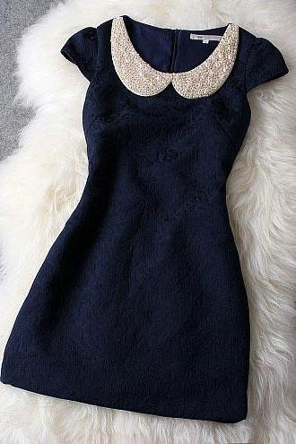 Sexy Luxury Designer Dark Blue Dress With Pearl Beaded Collar