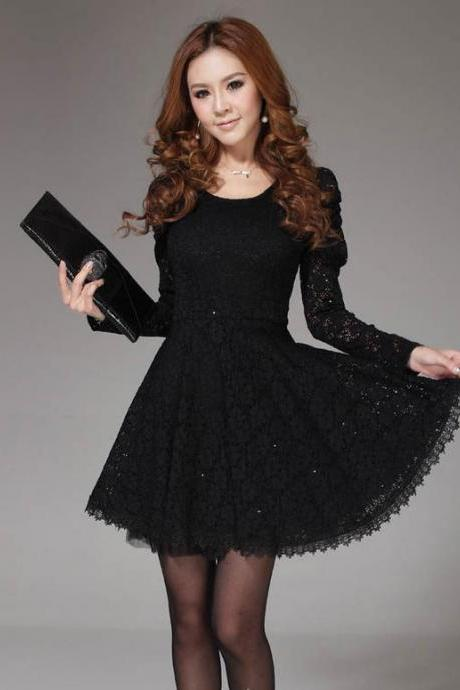 Womens New Dress Long Sleeved Bottoming Lace Dress Skirt-Black