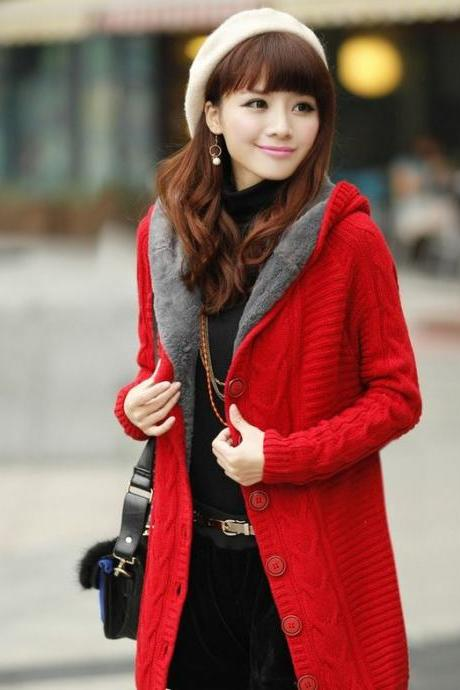 RED Knitted Cardigan Super Thick Warm with Super Smooth Faux Fur Lining Red Cotton Sweaters Pullovers