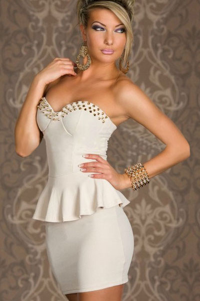 White Studded Peplum Dress