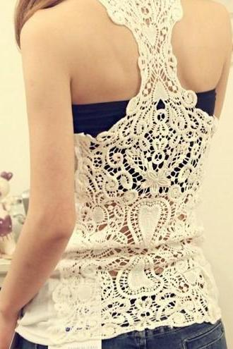 Crochet lace back tank top