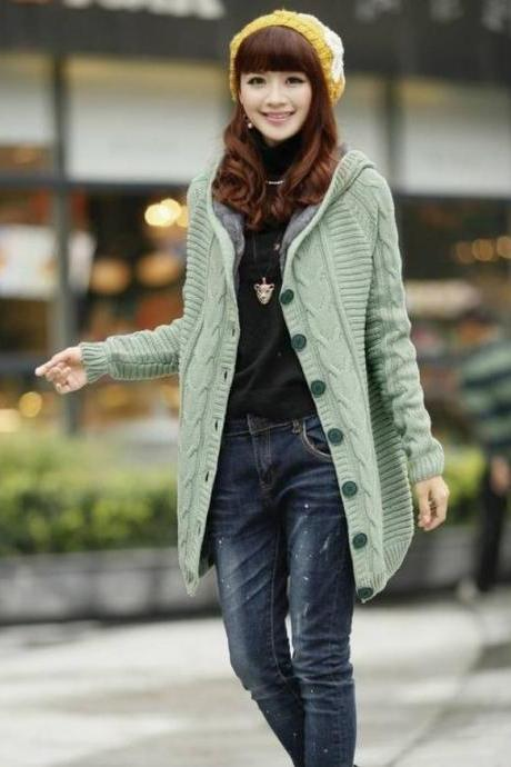 Green Knitted Cardigan Super Thick Warm with Super Smooth Faux Fur Lining Wool Sweaters Pullovers