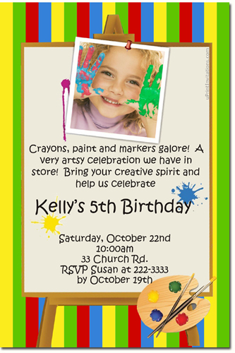 Painting Party Birthday Invitations (Download JPG Immediately) Click For Additional Designs