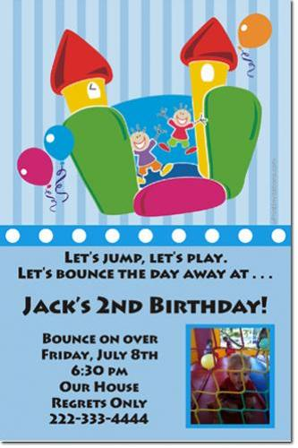 Bounce House Moonwalk Birthday Invitations (Download JPG Immediately) Click For Additional Designs