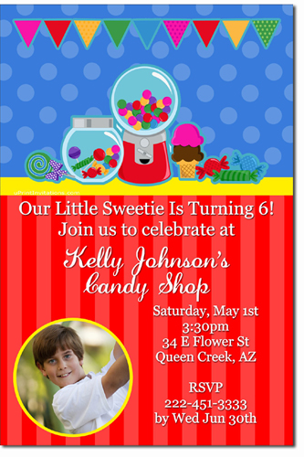 Candy Land Birthday Invitations (Download JPG Immediately) Click For Additional Designs - Any Color - Any Age