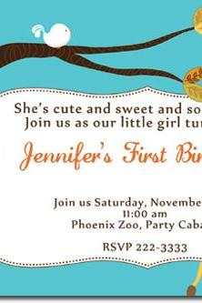 Bird Tree Birthday Invitations (Download JPG Immediately) Click for Additional Designs