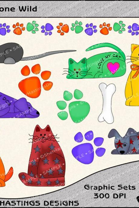 Pets Gone Wild Graphic/Clipart Set for Digial Scrapbooking