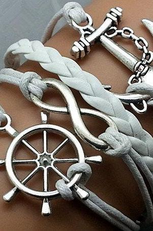 Infinity Helmsman & Anchor Bracelet Charm Bracelet Silver Bracelet White Korean Wax Cords white Leather Charm Bracelet Personalized Bracelet