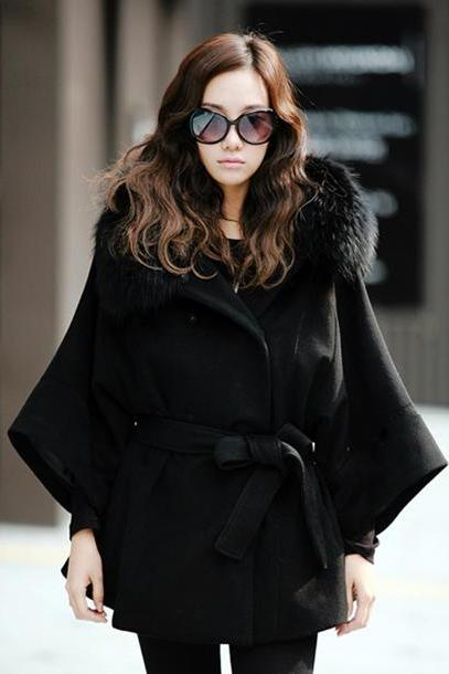 Women's Luxury Double Breasted Batwing Cape Poncho Coat Jacket Fur Collar Hooded