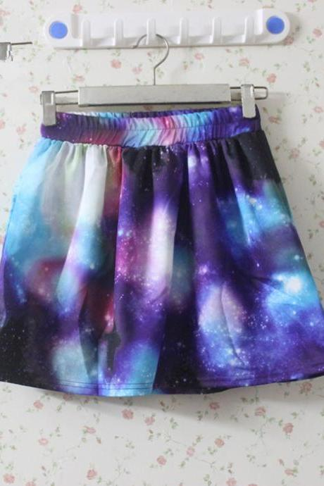 Fantasy Purple And Blue Galaxy Print Elastic Skirt