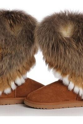 winter warm high long snow boots artificial fox rabbit fur leather tassel women's shoes
