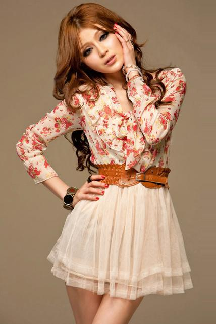 Floral And Apricot Gauze Patchwork Long Sleeve Dress