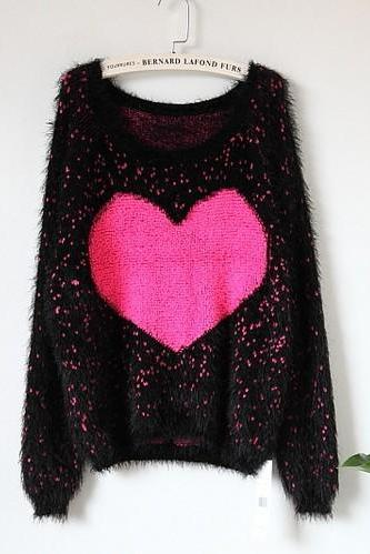 Fresh Sweet Love Round Neck Pullover Plush Sweater